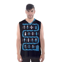 Who Is Outside Ugly Holiday Christmas Black Background Men s Basketball Tank Top