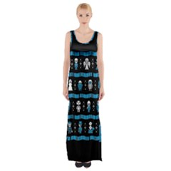 Who Is Outside Ugly Holiday Christmas Black Background Maxi Thigh Split Dress