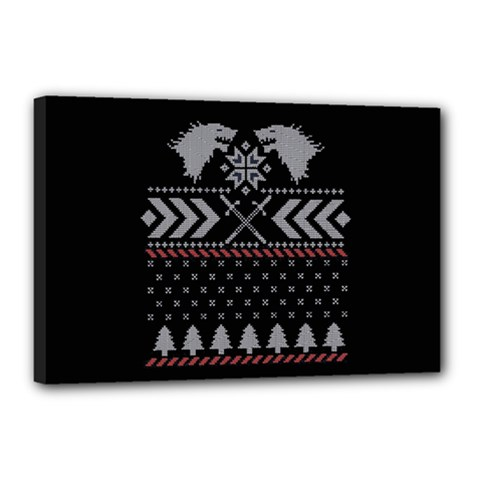 Winter Is Coming Game Of Thrones Ugly Christmas Black Background Canvas 18  x 12