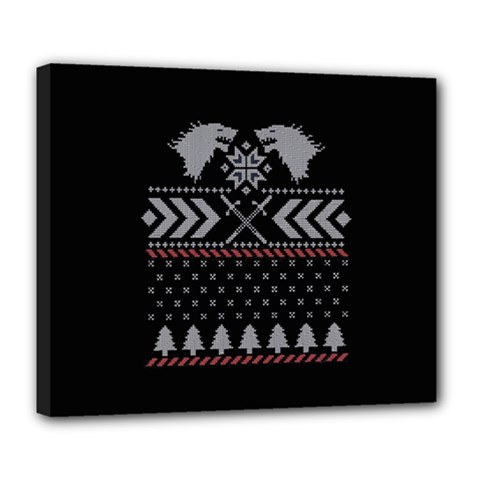 Winter Is Coming Game Of Thrones Ugly Christmas Black Background Deluxe Canvas 24  x 20