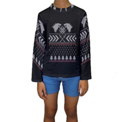 Winter Is Coming Game Of Thrones Ugly Christmas Black Background Kids  Long Sleeve Swimwear