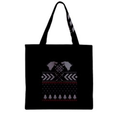 Winter Is Coming Game Of Thrones Ugly Christmas Black Background Zipper Grocery Tote Bag