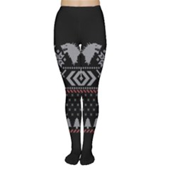 Winter Is Coming Game Of Thrones Ugly Christmas Black Background Women s Tights