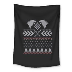 Winter Is Coming Game Of Thrones Ugly Christmas Black Background Medium Tapestry