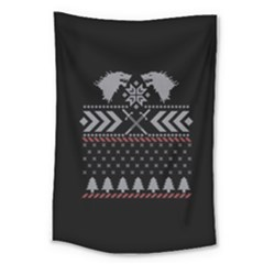 Winter Is Coming Game Of Thrones Ugly Christmas Black Background Large Tapestry
