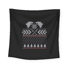 Winter Is Coming Game Of Thrones Ugly Christmas Black Background Square Tapestry (Small)