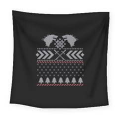 Winter Is Coming Game Of Thrones Ugly Christmas Black Background Square Tapestry (large)