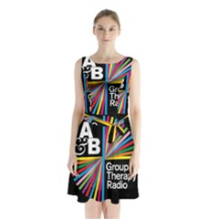 Above & Beyond  Group Therapy Radio Sleeveless Waist Tie Chiffon Dress