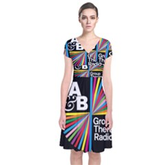 Above & Beyond  Group Therapy Radio Short Sleeve Front Wrap Dress