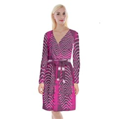 Above & Beyond Sticky Fingers Long Sleeve Velvet Front Wrap Dress