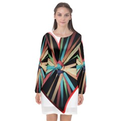 Above & Beyond Long Sleeve Chiffon Shift Dress