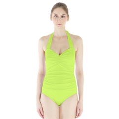 Neon Color - Light Brilliant Lime Green Halter Swimsuit