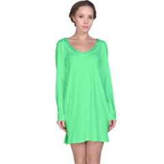 Neon Color - Light Brilliant Malachite Green Long Sleeve Nightdress