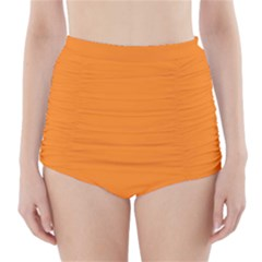 Neon Color - Light Brilliant Orange High-Waisted Bikini Bottoms