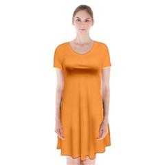 Neon Color - Light Brilliant Orange Short Sleeve V-neck Flare Dress