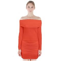 Neon Color - Light Brilliant Scarlet Long Sleeve Off Shoulder Dress