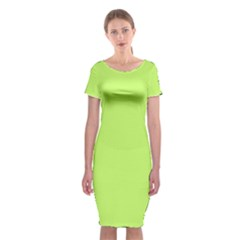 Neon Color - Light Brilliant Spring Bud Classic Short Sleeve Midi Dress