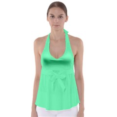 Neon Color - Light Brilliant Spring Green Babydoll Tankini Top
