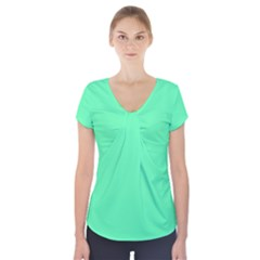 Neon Color - Light Brilliant Spring Green Short Sleeve Front Detail Top