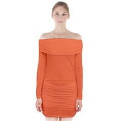 Neon Color   Light Brilliant Vermilion Long Sleeve Off Shoulder Dress