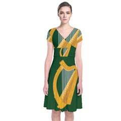 Flag of Leinster Short Sleeve Front Wrap Dress