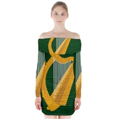 Flag of Leinster Long Sleeve Off Shoulder Dress