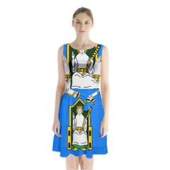 Flag Of Mide Sleeveless Waist Tie Chiffon Dress