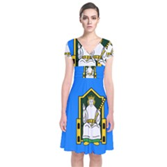 Flag of Mide Short Sleeve Front Wrap Dress