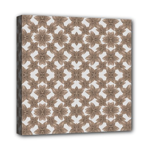 Stylized Leaves Floral Collage Mini Canvas 8  x 8
