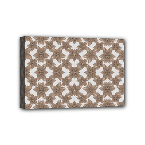 Stylized Leaves Floral Collage Mini Canvas 6  x 4
