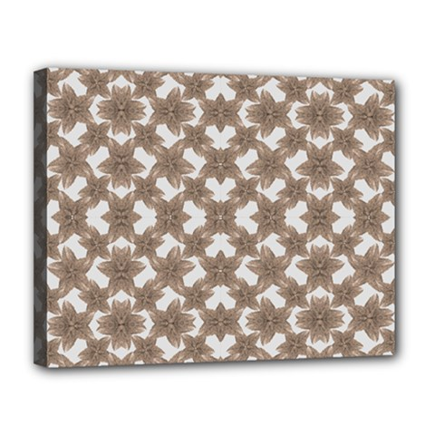 Stylized Leaves Floral Collage Canvas 14  x 11