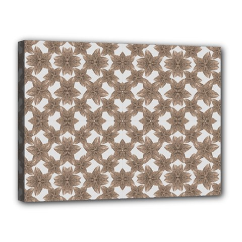 Stylized Leaves Floral Collage Canvas 16  x 12