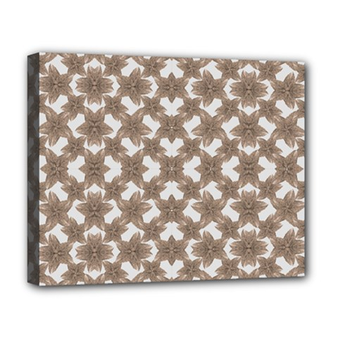 Stylized Leaves Floral Collage Deluxe Canvas 20  x 16