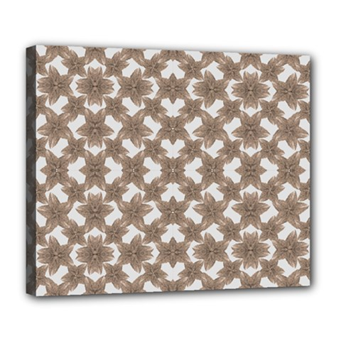 Stylized Leaves Floral Collage Deluxe Canvas 24  x 20