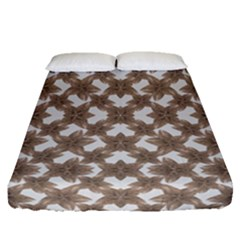 Stylized Leaves Floral Collage Fitted Sheet (Queen Size)