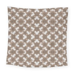 Stylized Leaves Floral Collage Square Tapestry (Large)
