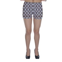 Stylized Leaves Floral Collage Skinny Shorts