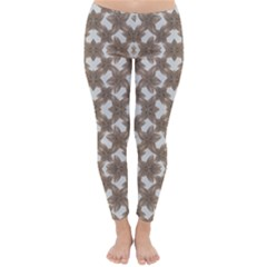 Stylized Leaves Floral Collage Classic Winter Leggings