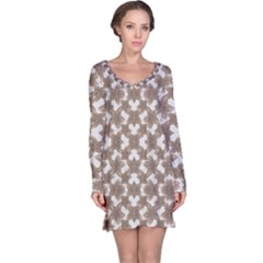Stylized Leaves Floral Collage Long Sleeve Nightdress