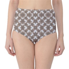 Stylized Leaves Floral Collage High-Waist Bikini Bottoms