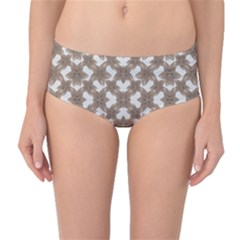 Stylized Leaves Floral Collage Mid-Waist Bikini Bottoms
