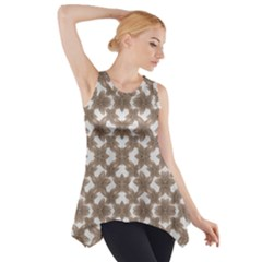 Stylized Leaves Floral Collage Side Drop Tank Tunic