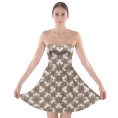 Stylized Leaves Floral Collage Strapless Bra Top Dress