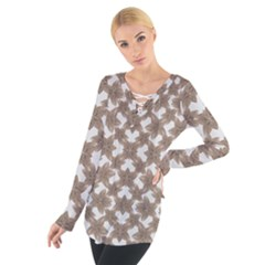 Stylized Leaves Floral Collage Women s Tie Up Tee