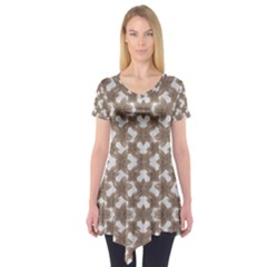 Stylized Leaves Floral Collage Short Sleeve Tunic