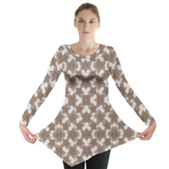 Stylized Leaves Floral Collage Long Sleeve Tunic