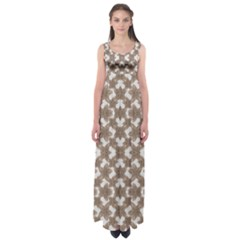 Stylized Leaves Floral Collage Empire Waist Maxi Dress