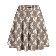 Stylized Leaves Floral Collage High Waist Skirt