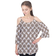Stylized Leaves Floral Collage Flutter Tees