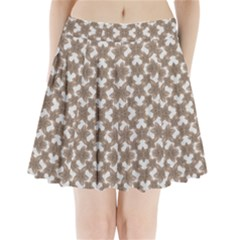 Stylized Leaves Floral Collage Pleated Mini Skirt